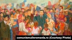 Moment de sărbătoare bihoreană; oferit de Comitetul judeţean de partid Bihor; 1978; ulei pe pânză,Sursa: comunismulinromania.ro (MNIR)