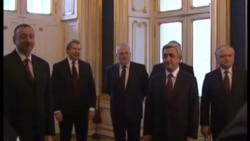 Видеокадры встречи президентов Азербайджана и Армении Ильхама Алиева и Сержа Саркисяна