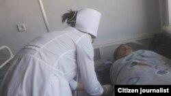 Шахноза Бахромова в больничной палате. Фото сделано 23 сентября 2020 года.