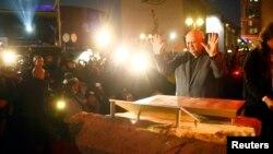 Былы прэзідэнт СССР Міхаіл Гарбачоў падчас наведваньня месца Бярлінскага муру, 7 лістапада 2014