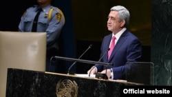 Президент Армении Серж Саргсян выступает на 69-й сессии Генеральной ассамблеи ООН в Нью-Йорке, 24 сентября 2014 г.