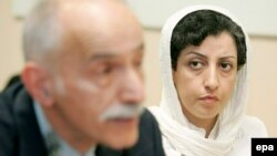 Narges Mohammadi (right) is pictured in 2008. She is currently in Tehran's Evin prison serving a 16-year sentence.