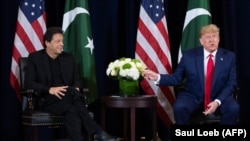 U.S. President Donald Trump (right) and Pakistani Prime Minister Imran Khan meet in New York this week.