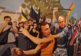 Суретші Константин Алтуниннің жыныстық азшылық өкілдеріне жасалатын қысымды әжуалаған картинасы. Санкт-Петербург, 23 тамыз 2013 жыл. (Көрнекі сурет)