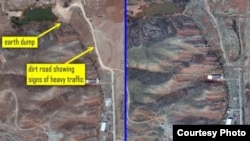 Satellite photograph indicating Iran has been trying to eliminate evidence of a possible nuclear weapons development site at the Parchin military base.