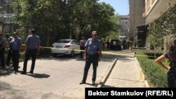 Police have cordoned off the place where the explosion took place in the Kyrgyz capital.