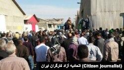 Haft Tapeh sugar factory workers strike on 9th December 2017.