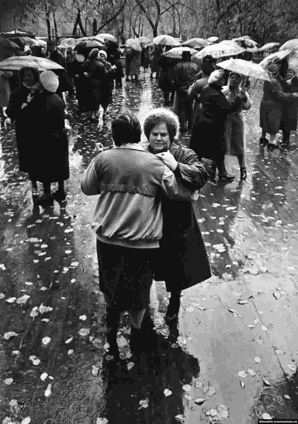 A wet fall day in Moscow, 1990.