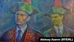 Работа Шамиля Гулиева «Внуки Джамбула» в галерее Artmeken, Алматы, 4 апреля 2019 года.
