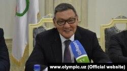 AIBA President Gafur Rakhimov speaks to the press in Tashkent in July.