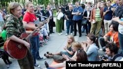 Лагерь протестующих на Кудринской площади в Москве