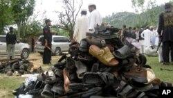 Жанкешілік террорлық шабуыл болған жер. Шина Самар Баг, төменгі Дир, Пәкістан. 15 қыркүйек 2011 ж.
