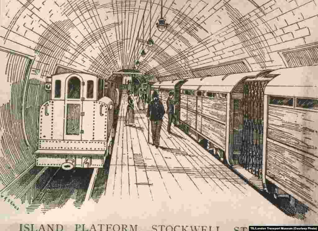 "An illustration of the wooden ""island"" between the tracks at Stockwell Station"