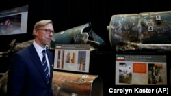 U.S. -- Brian Hook, U.S. special representative for Iran, walks past fragments of Iranian short range ballistic missiles (Qiam) at the Iranian Materiel Display (IMD) at Joint Base Anacostia-Bolling, in Washington, November 29, 2018