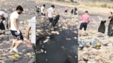 Plastic Fills Tajik Capital's Rivers (video still)