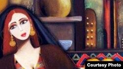 سيدة عراقية في لوحة للفنان ناصر ثامر