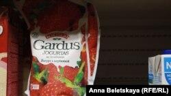 Апошні літоўскі ёгурт на паліцы ў адной з калінінградзкіх крамаў