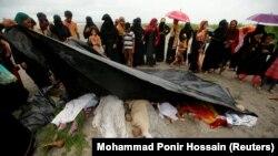 اجساد مسلمانانی که در جریان گریختن از میانمار غرق شدند