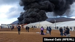 Fire breaks out in the Lipa migrant camp near Bihac on December 23,with many former residents left with nowhere to go.