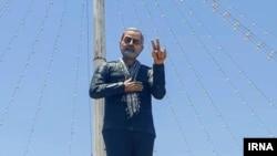 مجسمه قاسم سلیمانی، فرمانده سابق سپاه قدس، در شهر جیرفت در استان کرمان