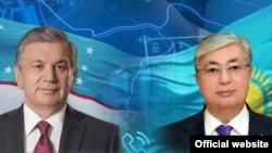 Қазақстан президенті Қасым-Жомарт Тоқаев (оң жақта) және Өзбекстан президенті Шавкат Мирзияев.