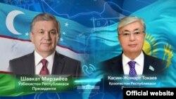 Президент Узбекистана Шавкат Мирзияев (слева) поздравил Касым-Жомарта Токаева (справа) с выдвижением его кандидатом на внеочередных выборах президента Республики Казахстан
