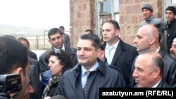 Armenia -- Prime Minister Tigran Sarkisian speaks to journalists after inaugurating an agricultural cooperative in Berdashen village, 20Apr2011