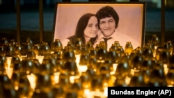 A memorial to journalist Jan Kuciak and his fiancee, Martina Kusnirova