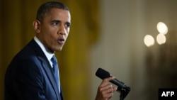 Президенти ИМА Барак Обама дар нишасти матбуотии 14-уми ноябри соли 2012