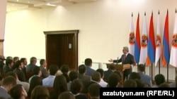 Armenia - A screenshot of official video of President Serzh Sarkisian's meeting with university students in Tsaghkadzor, 9Apr2012.