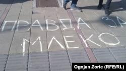 Protest u Beogradu zbog odluke Vlade da poveća dozvoljeni nivo aflatoksina u mleku, 1. mart 2013.