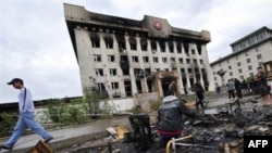 The destroyed headquarters of the ruling Mongolian People's Revolutionary Party in Ulan Bator