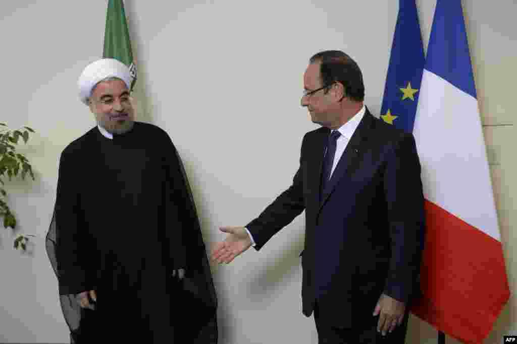 حسن روحانی و فرانسوا اولاند، روسای جمهوری ایران و فرانسه