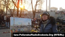 Artist Maryna Sochenko on Kyiv's Independence Square last year