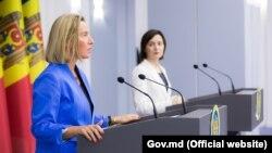 Şefa politicii externe europene, Federica Mogherini, şi şefa Guvenului de la Chişinău Maia Sandu. 3 octombrie 2019