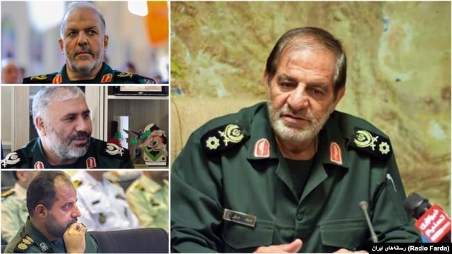 "The commander of IRGC's regional HQ in the center of Iran ""Seyed-o-Shohada"", Javad Esteki and his provincial commanders Hossein Fada (Isfahan), Ali Mohammad Akbari (Chaharmahal and Bakhtiari), and Reza Shamsipour (Yazd)."