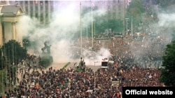 Anti-Milosevic demonstrators converged in massive numbers on downtown Belgrade on October 5, 2000.