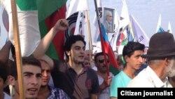 Лидер оппозиции Али Керимли сын Туркеля Керимли во время митинга оппозиции в Баку 23 сентября 2013 года.