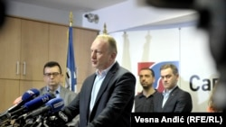 Serbia - Dragan Djilas the press conference of the opposition block Alliance for Serbia. 17. March 2019. Belgrade