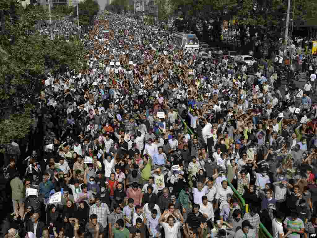 Hundreds of thousands of people protested in Tehran on June 15 against what many are calling a stolen election.