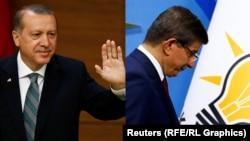 Turkey -- A combo photo of Turkish Prime Minister Ahmet Davutoglu (R) and Turkish President Recep Tayyp Erdogan