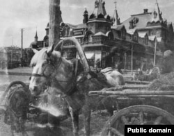 A carriage horse in Sergiyev Posad, north of Moscow