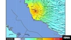 Мапа со епицентарот на земјотресот во Иран