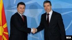 Генералниот секретар на НАТО Андрес фог Расмусен и премиерот на Македонија Никола Груевски.