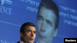 Israel -- NATO Secretary-General Anders Fogh Rasmussen speaks during the annual 'Herzliya Conference' in the central Israeli city of Herzliya, 09Feb2011