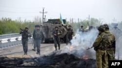 Ukrain esgerleri Andriwka obasynda, 2-nji maý, 2014.