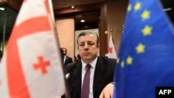 Премьер-министр Грузии Георгий Квирикашвили на встрече в Брюсселе