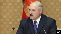 Belarusian President Alyaksandr Lukashenka speaking at a televised press conference in Minsk on June 17.