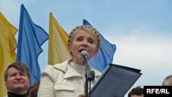 Timoşenko mitinqdə çıxış edir