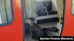 Жарылыс болған метро вагоны. Парсонс-Грин бекеті. Лондон, 15 қыркүйек 2017 жыл.